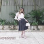 Look do Dia: Renda Rosê + Saia Midi